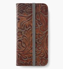 Burnished Rich Brown Tooled Leather iPhone Wallet/Case/Skin