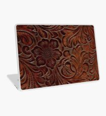 Burnished Rich Brown Tooled Leather Laptop Skin
