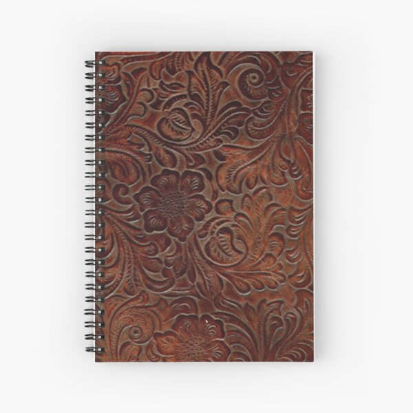 Burnished Rich Brown Tooled Leather Pattern Spiral Notebook