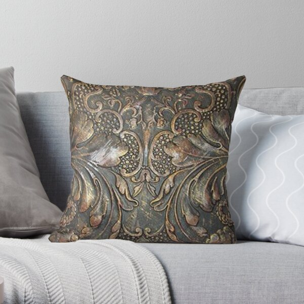 Golden Brown Carved Tooled Leather Throw Pillow