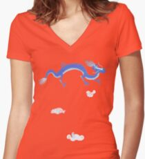 Blue Dragon and Mountain Women's Fitted V-Neck T-Shirt