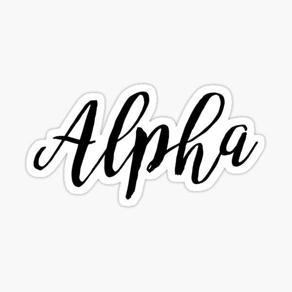 Alfa - Letra griega negra cursiva Pegatina