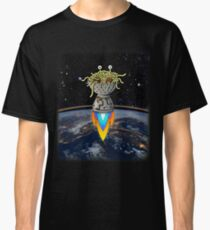 FSM Flying Spaghetti Monster Flying Above Earth Rainbow Ozone Layer Space Stars Classic T-Shirt