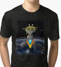 FSM Flying Spaghetti Monster Flying Above Earth Rainbow Ozone Layer Space Stars Tri-blend T-Shirt