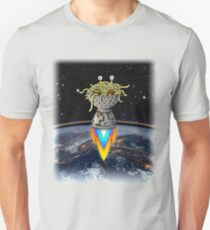 FSM Flying Spaghetti Monster Flying Above Earth Rainbow Ozone Layer Space Stars T-Shirt