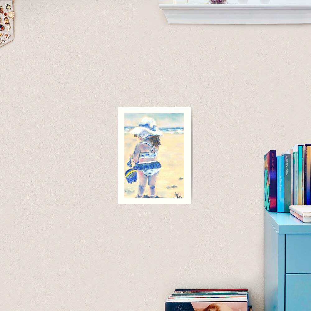 Little Chunky Thighs on the Beach (Pastel) Art Print