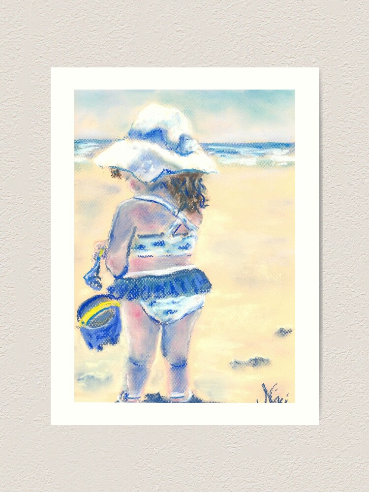 Alternate view of Little Chunky Thighs on the Beach (Pastel) Art Print
