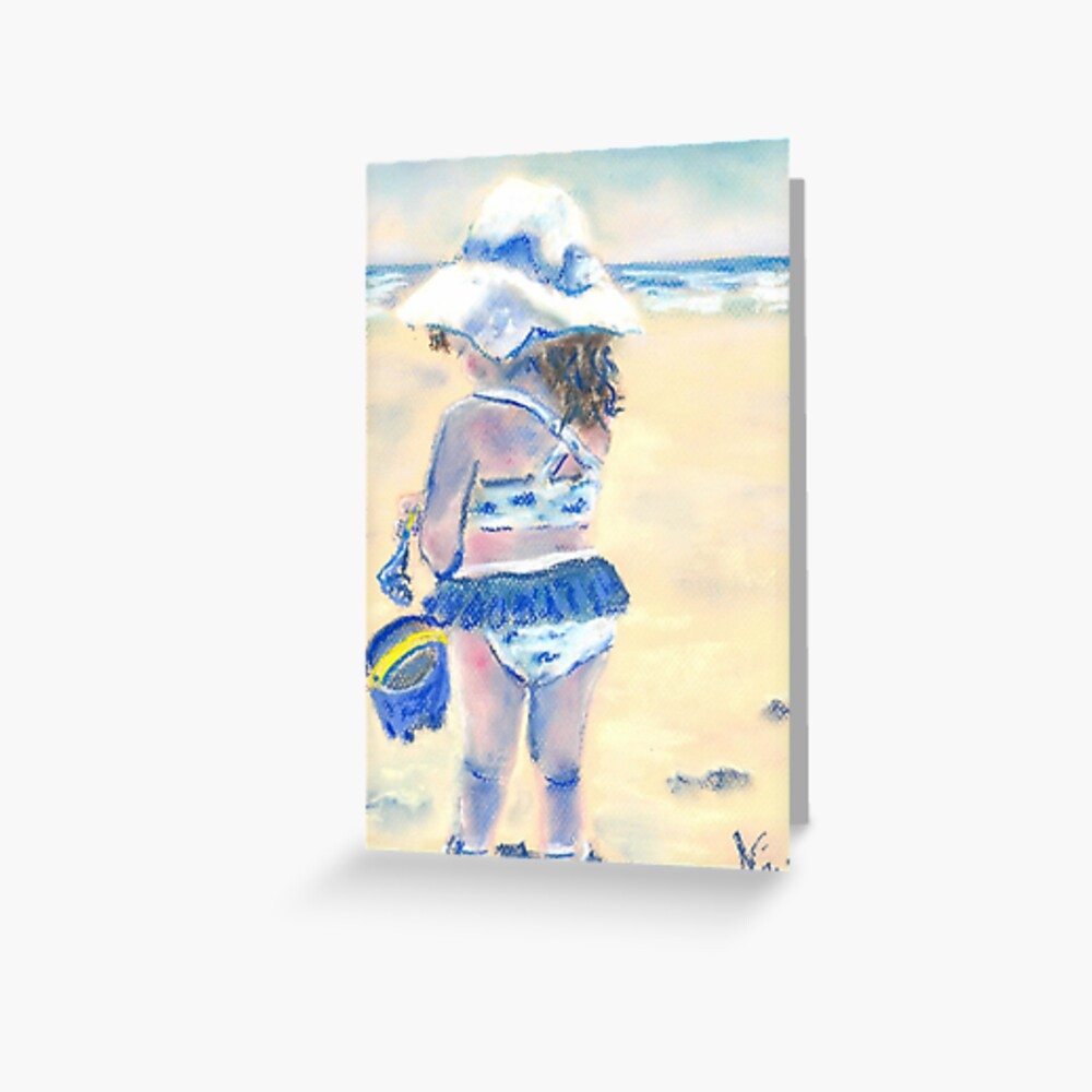 Little Chunky Thighs on the Beach (Pastel) Greeting Card