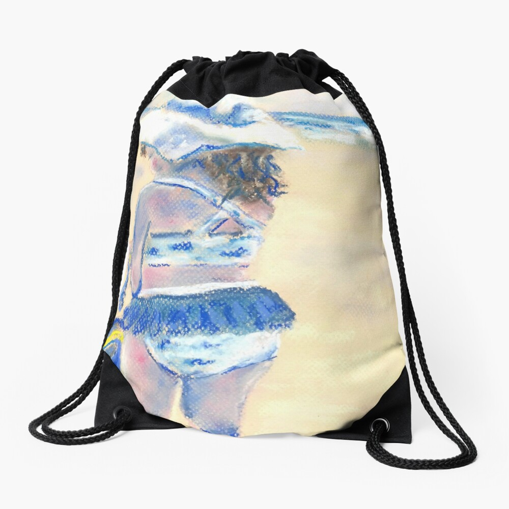 Little Chunky Thighs on the Beach (Pastel) Drawstring Bag