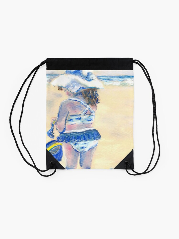 Alternate view of Little Chunky Thighs on the Beach (Pastel) Drawstring Bag