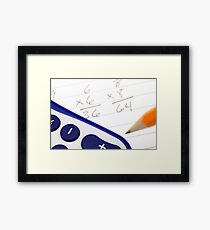 A close up image of math problems with a pencil Framed Print