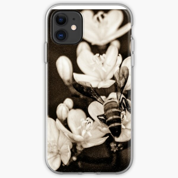 Sepia; Bee and flowers iPhone Soft Case