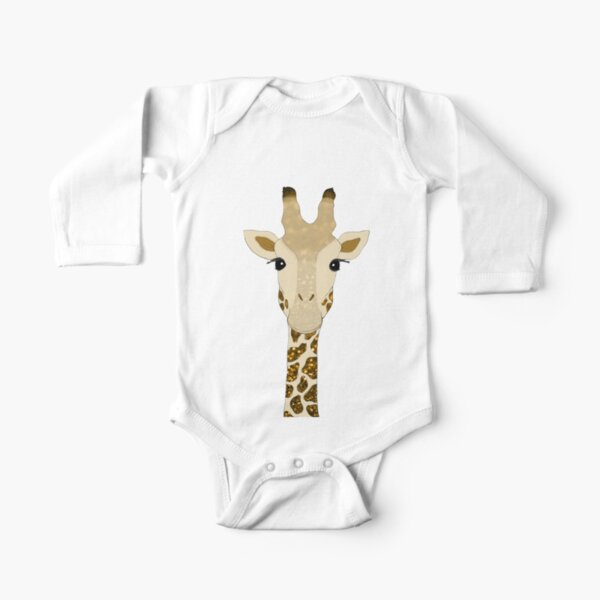 Golden Glitter Giraffe Long Sleeve Baby One-Piece