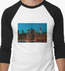 Manhattan at night Men's Baseball ¾ T-Shirt