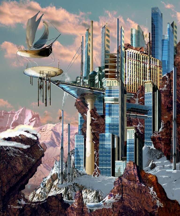 Snowcap cityscape by TTruelove