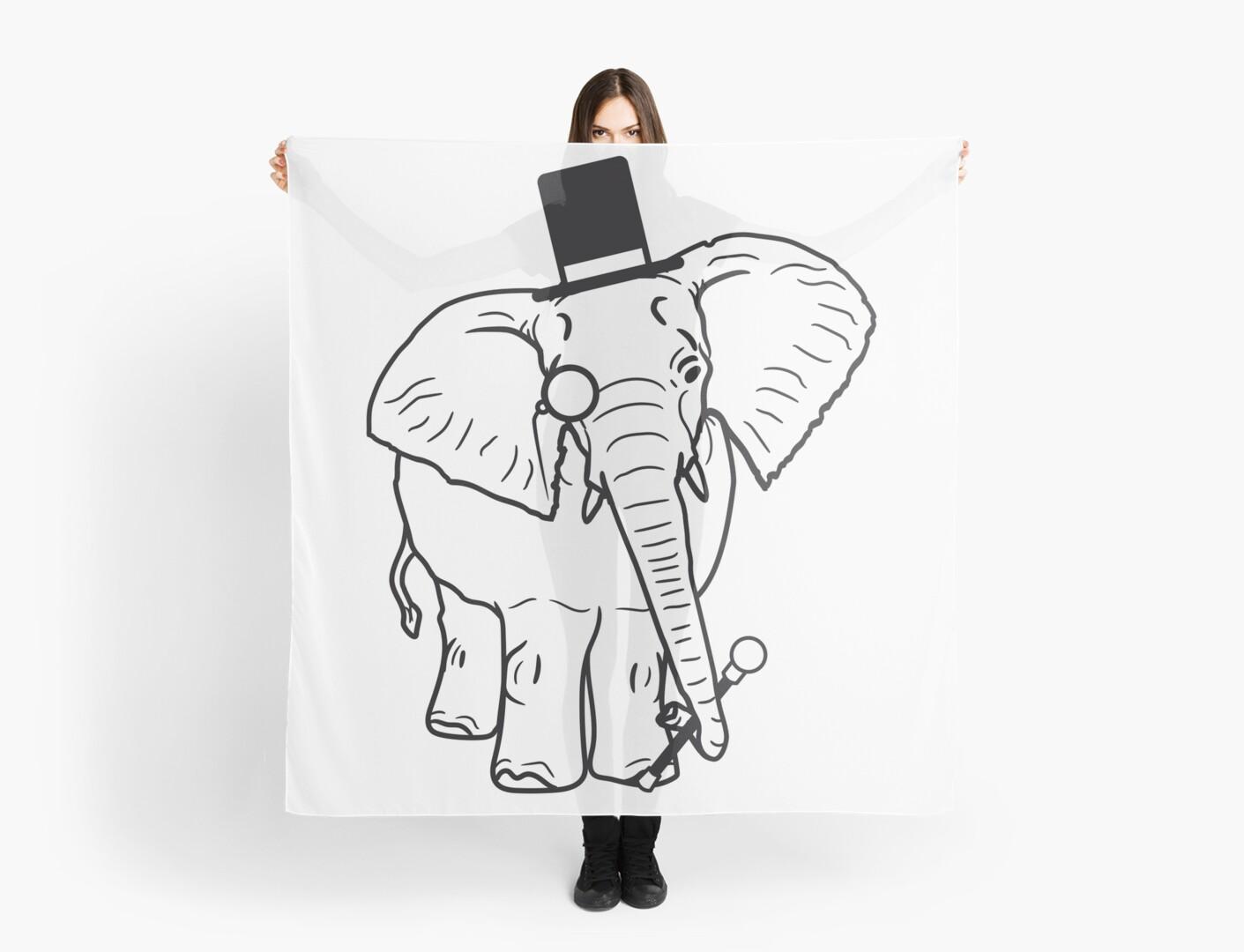 Sir Herr Gentlemen Zylinder Hut Monokel Brille Elefant Gemalt
