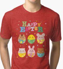 Happy Easter Cute Animal Emoji Colorful Eggs Novelty Tri-blend T-Shirt