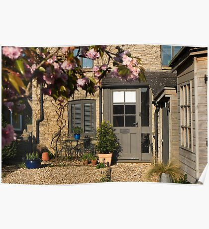 Cotswold Cottage with blossom 01 Poster