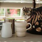 Tea and biscuits with cat tea cosy. by Flo Smith