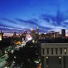 The Cleveland Skyline Sunset by Atheum