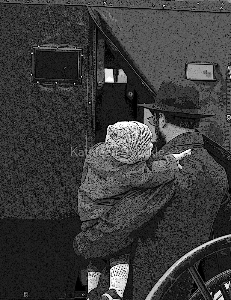 Amish Father And Child by Kathleen Struckle