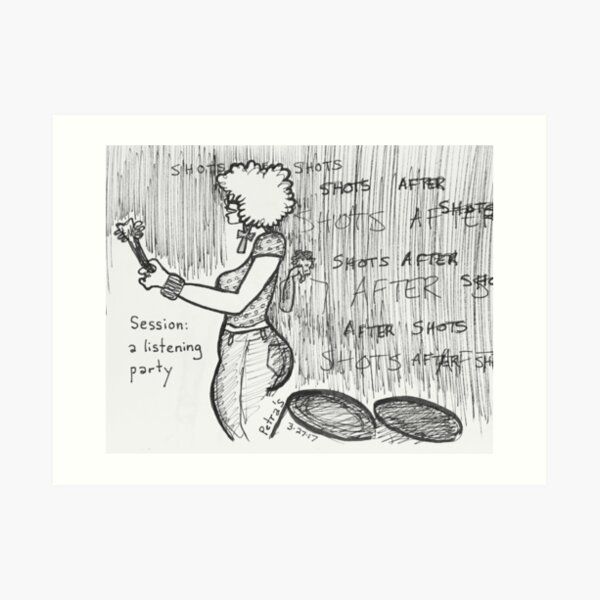 Reportage Sketch: Session: A Listening Party Art Print