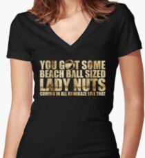 Beach Ball Sized Lady Nuts Women's Fitted V-Neck T-Shirt