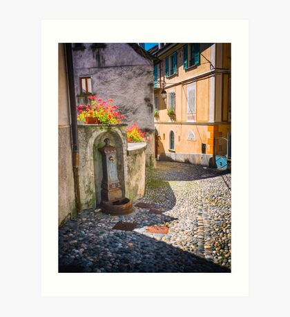 Italian alley with fountain Art Print