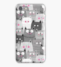 gatos blanco y negro iPhone Case/Skin