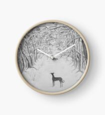 woods in the snow Clock
