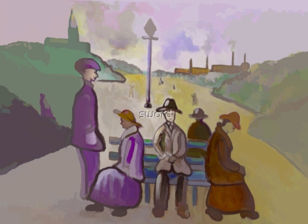 A seat in the park (from my original acrylic painting) digitally enhanced) by sword