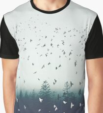 Flock of Birds Contrast Graphic T-Shirt