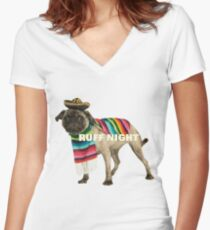 Ruff Night Women's Fitted V-Neck T-Shirt