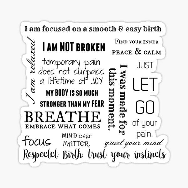 Birth Affirmations: Respect Birth, Trust Your instincts Sticker
