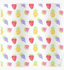 Watercolor Fruit Pattern Poster