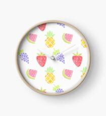 Watercolor Fruit Pattern Clock