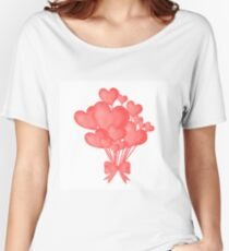 Valentine's day background with heart balloons with ribbon.  Women's Relaxed Fit T-Shirt