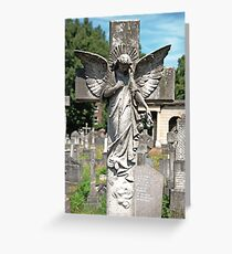 Angel with bowed head Brompton Cemetery Greeting Card