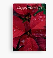 Red Poinsettia Water Drops - Happy Holidays Canvas Print