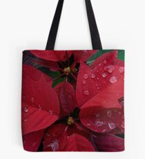Red Poinsettia Water Drops - Happy Holidays Tote Bag