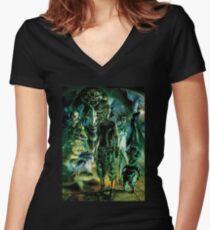 DeeMee Durawga Classic Green Women's Fitted V-Neck T-Shirt