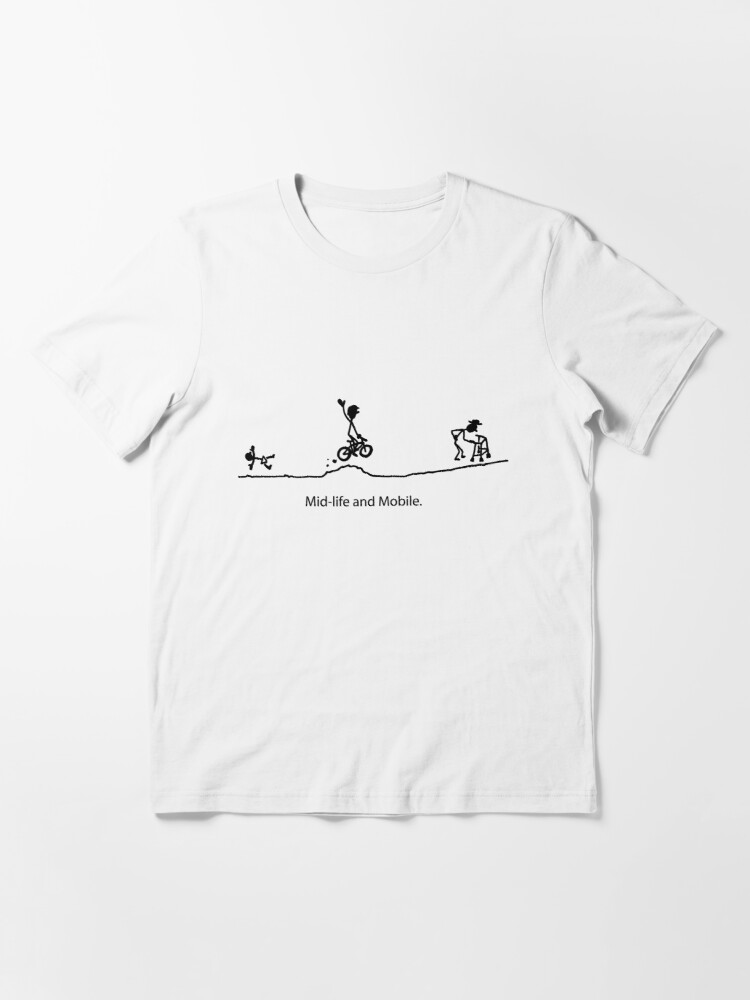 Alternate view of Mid Life And Mobile - Cycling Cartoon Essential T-Shirt