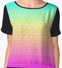 16-bit Pixelart Bright Rainbow Color Fade Cute Nerd Chiffon Top