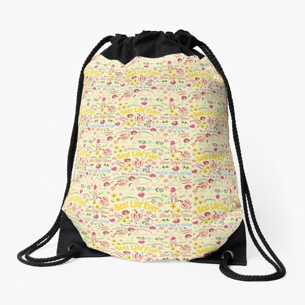 Best Life Ever Yellow Spring Drawstring Bag