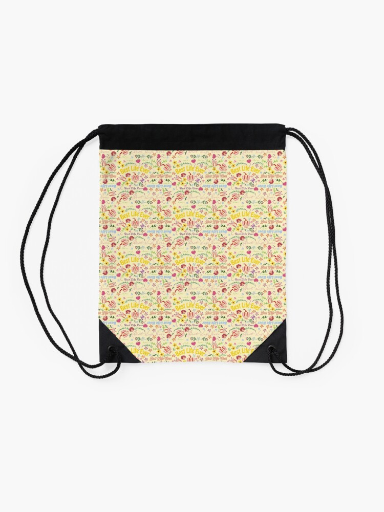 Alternate view of Best Life Ever Yellow Spring Drawstring Bag