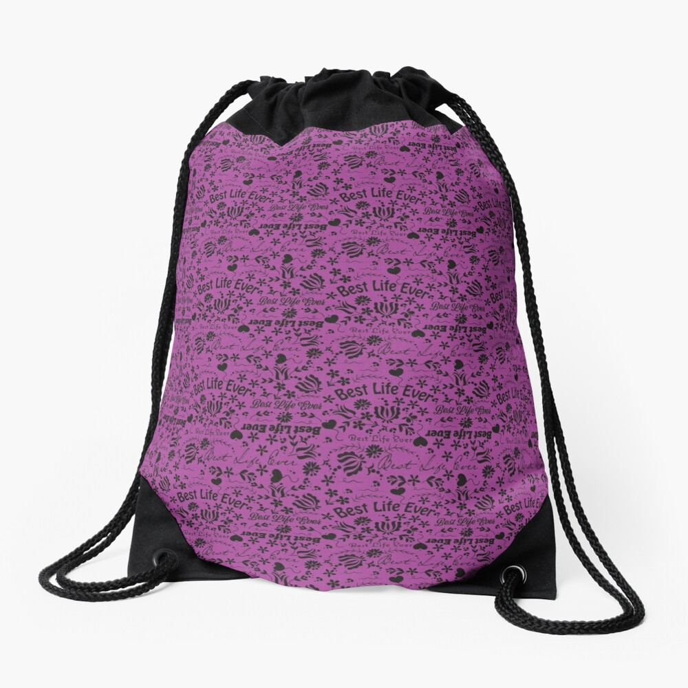 Best Life Ever Purple Drawstring Bag