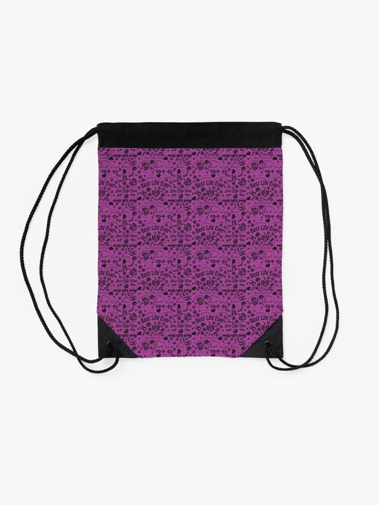 Alternate view of Best Life Ever Purple Drawstring Bag