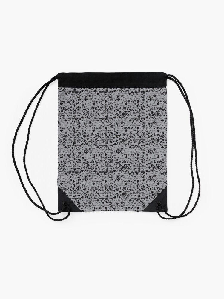 Alternate view of Best Life Ever Grey Drawstring Bag
