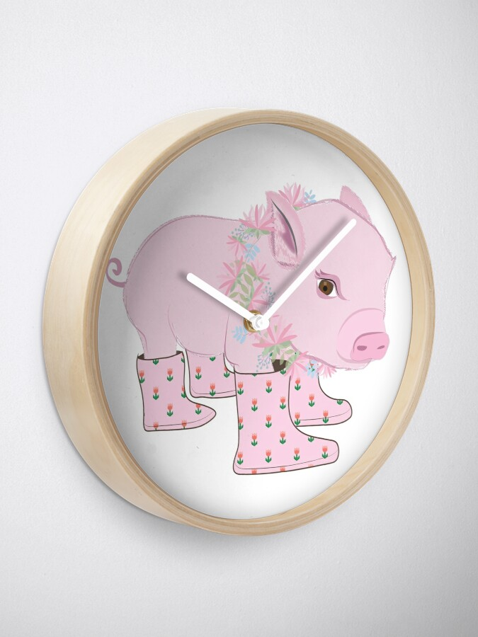 Alternate view of Pink Piglet Clock