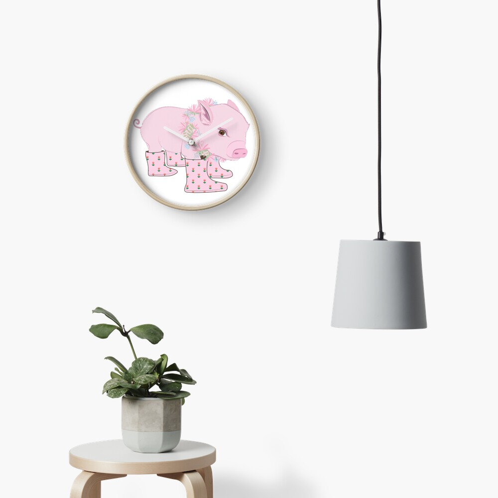 Pink Piglet Clock